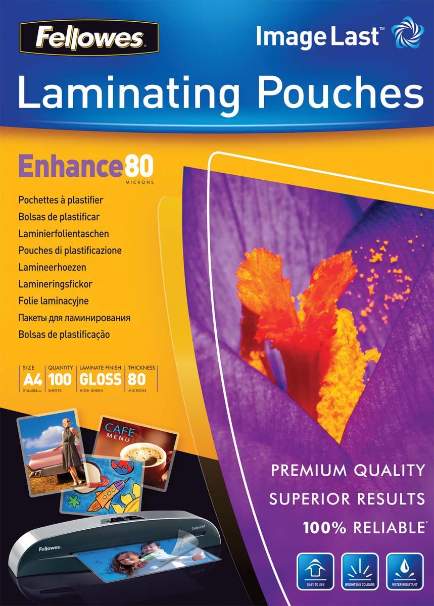 Fellowes А4 FS-53061 пленка для ламинирования, 80 мкм (100 шт)FS-53061Пленка для горячего ламинирования глянцевая, с высоким содержанием полиэстера (50%). Используется для защиты документов от влаги, загрязнения, механических повреждений, придания жесткости и яркости. Обладает высокой прозрачностью.