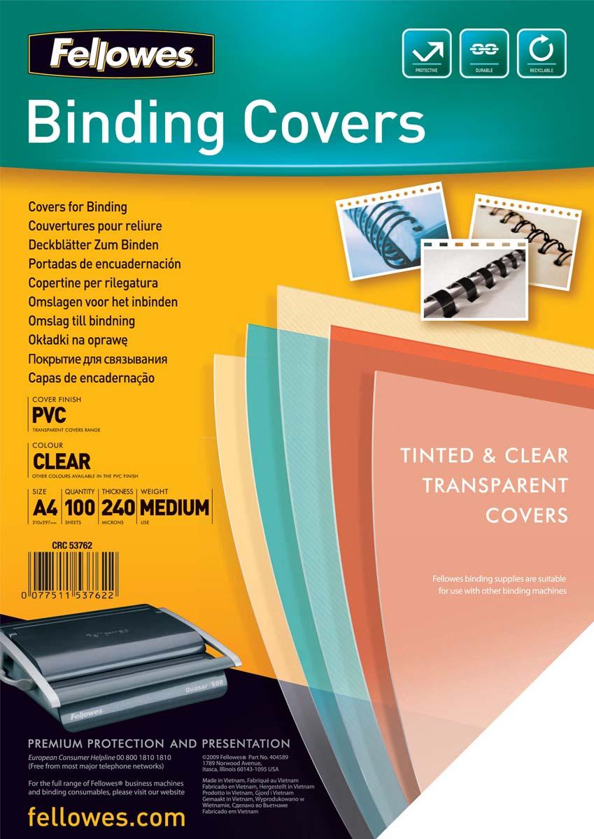 Fellowes Transparent А4 обложка для переплета, 240 мкм (100 шт)FS-53762Обложка Transparent предназначена для оформления документов. Обложка выполнена из прозрачного ПВХ 240 мкм., 100 шт. в розничной упаковке. Идеально подходит как для переплета на пластиковую, так и на металлическую пружины.