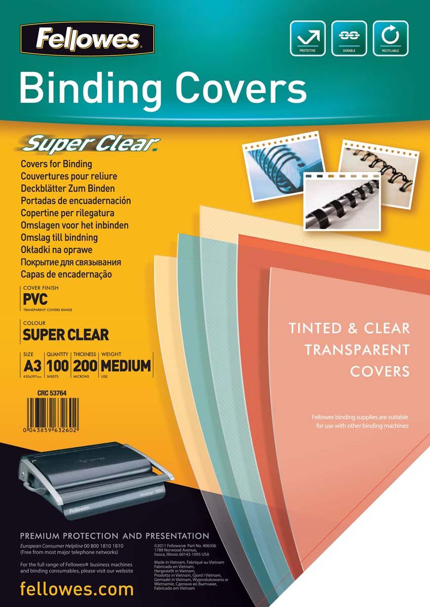 Fellowes Transparent А3 обложка для переплета, 200 мкм (100 шт)FS-53764Обложка Transparent предназначена для оформления документов. Обложка выполнена из прозрачного ПВХ 200 мкм., 100 шт. в розничной упаковке. Идеально подходит как для переплета на пластиковую, так и на металлическую пружины.