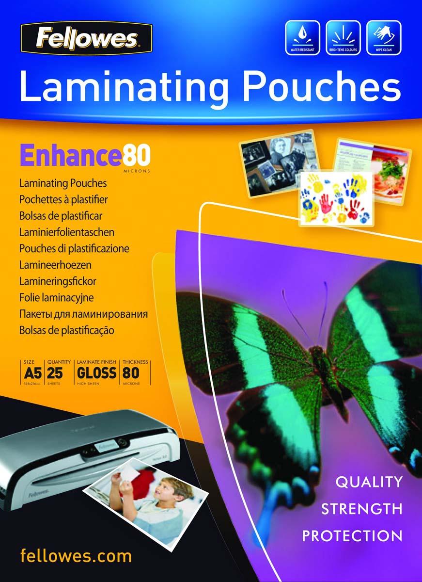 Fellowes A5 FS-53960 пленка для ламинирования, 80 мкм (25 шт)FS-53960Пленка для горячего ламинирования глянцевая, с высоким содержанием полиэстера (50%). Используется для защиты документов от влаги, загрязнения, механических повреждений, придания жесткости и яркости. Обладает высокой прозрачностью.