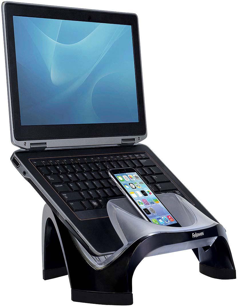 Fellowes FS-80202 подставка для ноутбукаFS-80202Подставка под ноутбук Smart Suites FS-80202 идеальна для максимальной экономии рабочего пространства и эргономичного расположения портативного компьютера. Регулируемая высота. Максимальная нагрузка 6кг. или 17 монитор. Имеет 4 порта USB и большой карман для хранения мелочей.
