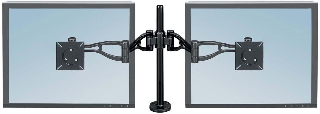 Fellowes FS-80417 кронштейн для 2 мониторовFS-80417Кронштейн для двух мониторов Professional Series Широкие возможности регулировки положения экрана позволяют найти максимально комфортное положение экрана для обзора. Кронштейн крепится легко и быстро – вам не понадобятся специальные приспособления для этого. Приподнимает монитор над поверхностью стола на высоту от 88 мм до 419 мм, соответственно нижняя часть монитора располагается минимально на расстоянии 63 мм от поверхности стола, максимально – 686 мм. Угол наклона экрана вверх или вниз регулируется на +/- 37°, вправо или влево экран вращается на 360°. Крепление кронштейна подходит для столешниц толщиной от 25 мм до 76 мм. Если крепление кронштейна осуществляется через специальное отверстие в столе для коммуникаций – его минимальный диаметр должен составлять 82 мм. Дополнительный инструмент для крепления не требуется. Соответствует стандарту креплений VESA. Подходит для мониторов весом до 10 кг каждый.