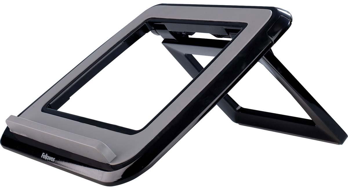 """Fellowes I-Spire Series, Black подставка для ноутбука до 17FS-82120Новая подставка для ноутбука серии I-Spire с регулировкой высоты и угла наклона экрана. Приподнимает экран ноутбука до комфортного угла обзора, обеспечивая правильное и комфортное положение плечевого пояса и глаз во время работы. Ограничитель на передней панели обеспечивает устойчивое положение ноутбука на подставке, конструкция предполагает пассивное охлаждение задней панели, тем самым предотвращая перегрев устройства. Стильный дизайн гармонично сочетается с любым интерьером. 7 вариантов угла наклона экрана. В сложенном состоянии - плоская для удобства в переноске. Возможно использование с внешней клавиатурой и мышью. Подходит для ноутбуков до 17"""". Доступна в белом и черном цвете. Размер подставки в сложенном виде: В42 х Ш320 х Г286 мм. Гарантия 1 год"""