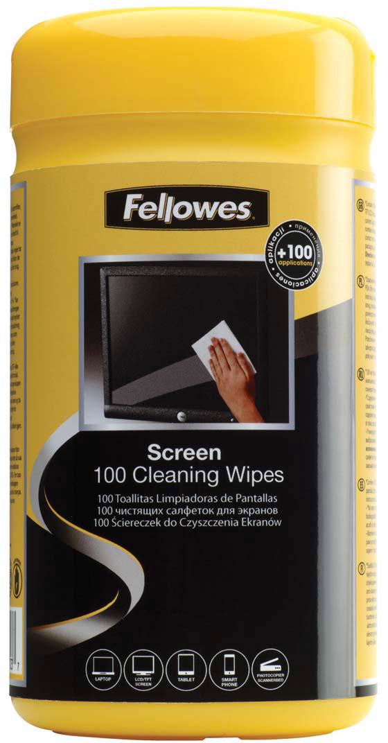 Fellowes FS-99703 салфетки для экранов (100 шт)FS-99703Салфетки для экранов FS-99703 позволяют быстро и качественно очистить любой тип экрана, а также стеклянные поверхности. Не оставляют разводов и пятен на экране. Не содержат спирта, дерматологически безопасны и антистатичны. Количество в тубе: 100шт.