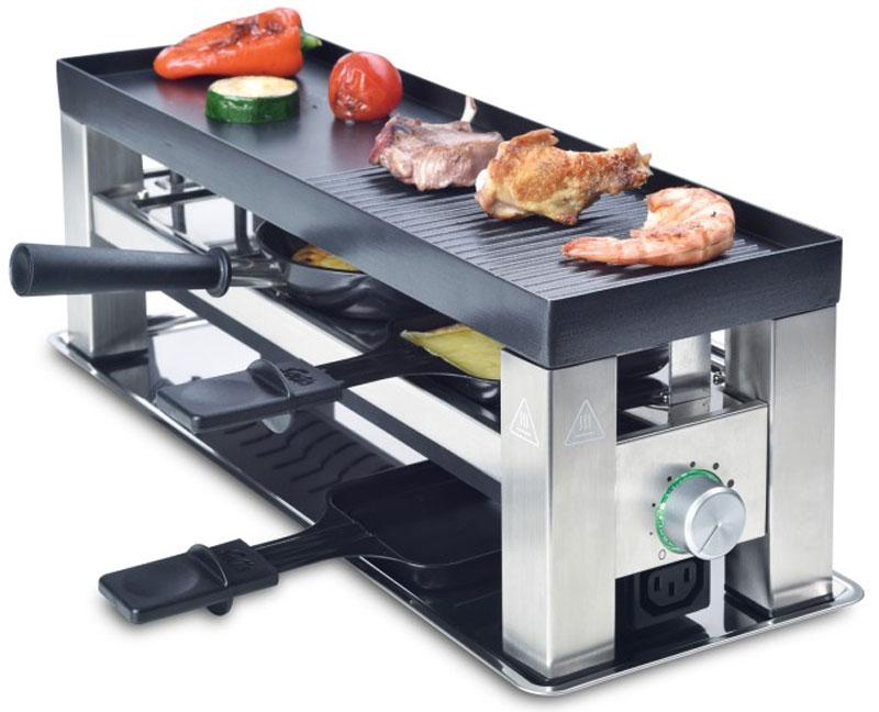 Solis Table Grill 4 in 1 раклетницаTable Grill 4 in 1Solis Table Grill 4 in 1 - это комбинированная раклетница - гриль - фондю. Двухсторонняя съемная пластина гриля из литого алюминия с антипригарным покрытием (44.5 х 15 см) имеет две стороны. Одна из них - ребристая/гладкая, а вторая - с углублениями для мини-вок или блинов. Прибор имеет бесступенчато регулируемый термостат со световым индикатором, а также 3 эмалированных мини-противня с для приготовления порционных блюд.