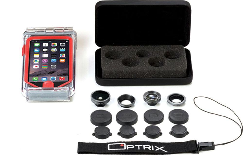 Optrix Photo Pro, Black Red набор для фотосъемки для iPhone 5/5s/SEFS-94678Профессиональный набор, включающий 4 сменных объектива и жесткий чехол для их хранения. Снимайте в любых ситуациях, в любых условиях, не боясь повредить свой iPhone. Чехол Optrix для iPhone отличается точно сконструированной и надежной конструкцией, превращающей ваш iPhone в полноценную экшн-камеру: съемка во время сплава по реке, велопрогулки, катания на лыжах, пляжного отдыха - все это возможно теперь при помощи Вашего iPhone! • 100% водонепроницаемость при погружении на глубину до 4,5 м (соответствует стандарту IP68) • Ударопрочность: выдерживает падение с высоты до 6,1 м (соответствует стандарту MIL-STD-810G) • Сверхпрочный корпус, сохраняющий весь функционал смартфона • Специальная защитная мембрана сохраняет все свойства сенсорного экрана устройства • Подходит к широкому ассортименту креплений • 4 сменных объектива (алюминий/стекло)