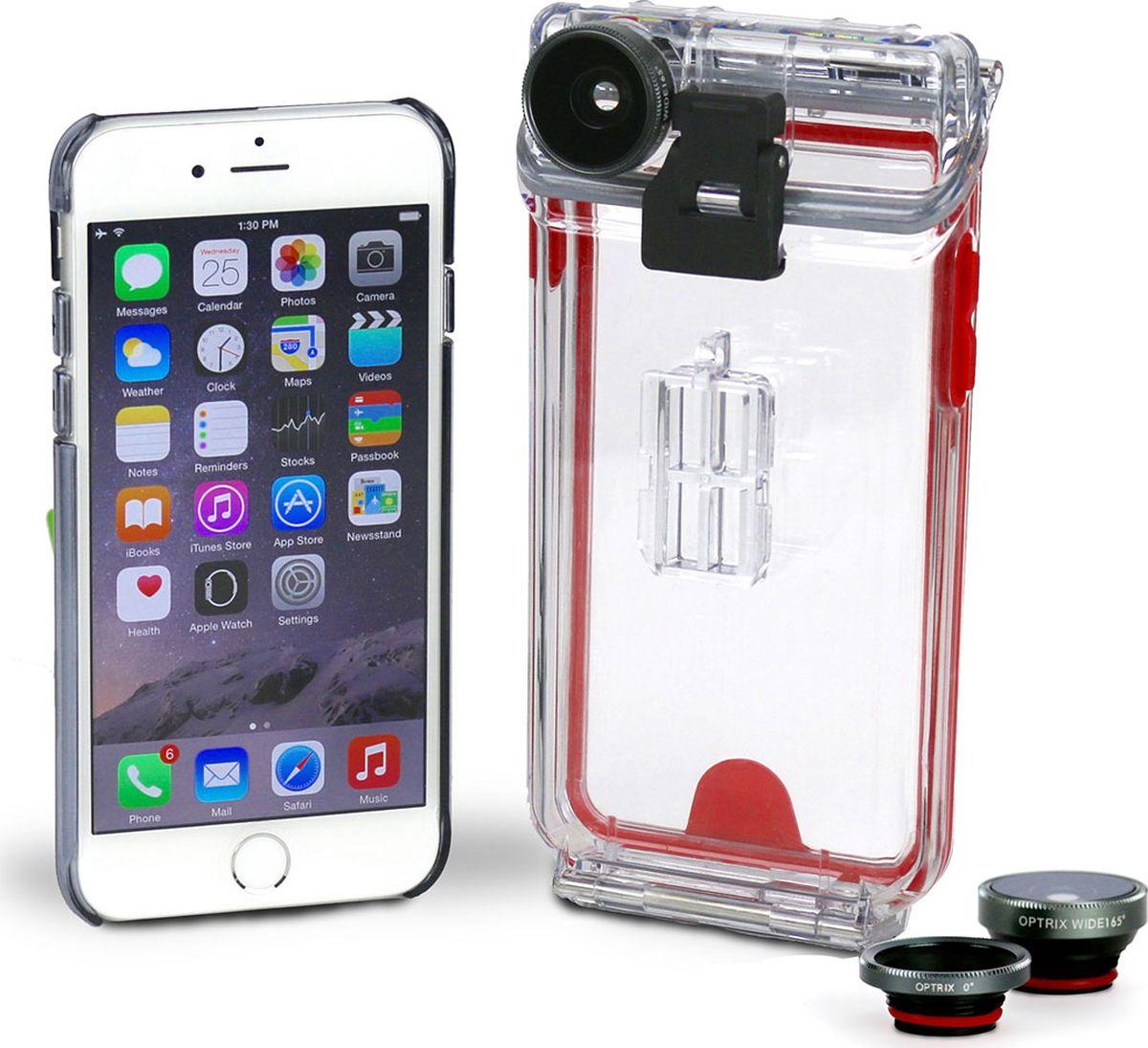 Optrix Photo, Clear Red набор для фотосъемки для iPhone 6/6sFS-94767Набор для создания уникальных фотографий и видео при помощи Вашего iPhone®. Ультралегкий защитный корпус обеспечит сохранность устройства в любых экстремальных условиях, тогда как сменные линзы значительно расширят возможности его камеры. Чехол Optrix для iPhone отличается точно сконструированной и надежной конструкцией, превращающей ваш iPhone в полноценную экшн-камеру: съемка во время сплава по реке, велопрогулки, катания на лыжах, пляжного отдыха - все это возможно теперь при помощи Вашего iPhone! 100% водонепроницаемость при погружении на глубину до 10 м (соответствует стандарту IP68) • Ударопрочность: выдерживает падение с высоты до 6,1 м (соответствует стандарту MIL-STD-810G) • Сверхпрочный корпус, сохраняющий весь функционал смартфона • Специальная защитная мембрана сохраняет все свойства сенсорного экрана устройства • Подходит к широкому ассортименту креплений • 2 сменных объектива (алюминий/стекло)