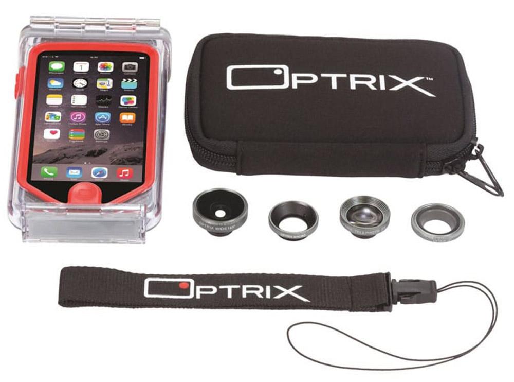 Optrix Photo Pro, Clear Red набор для фотосъемки для iPhone 6/6sFS-94768Профессиональный набор, включающий 4 сменных объектива и жесткий чехол для их хранения. Снимайте в любых ситуациях, в любых условиях, не боясь повредить свой iPhone. Чехол Optrix для iPhone отличается точно сконструированной и надежной конструкцией, превращающей ваш iPhone в полноценную экшн-камеру: съемка во время сплава по реке, велопрогулки, катания на лыжах, пляжного отдыха - все это возможно теперь при помощи Вашего iPhone! • 100% водонепроницаемость при погружении на глубину до 10 м (соответствует стандарту IP68) • Ударопрочность: выдерживает падение с высоты до 6,1 м (соответствует стандарту MIL-STD-810G) • Сверхпрочный корпус, сохраняющий весь функционал смартфона • Специальная защитная мембрана сохраняет все свойства сенсорного экрана устройства • Подходит к широкому ассортименту креплений • 4 сменных объектива (алюминий/стекло)