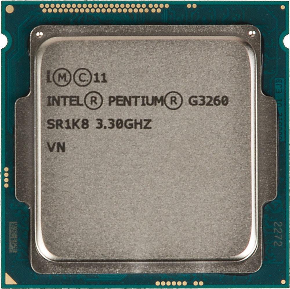 Intel Pentium G3260 процессор293041Pentium G3260 - процессор для настольных персональных компьютеров, основанных на платформе Intel. В основе лежит архитектура Haswell, что позволяет оптимизировать работу двух ядер, функционирующих на частоте 3300 МГц. Дополнительное быстродействие обеспечивается кэш-памятью третьего уровня объемом 3072 КБ. Обработка изображения перед демонстрацией его на мониторе ПК осуществляется графическим процессором Intel HD Graphics. Для двусторонней передачи данных между Pentium G3260 и оперативной памятью компьютера предусмотрен встроенный контроллер, поддерживающий модули размером до 32 ГБ. Также в данной модели установлены контроллер PCI-E 3.0 и системная шина DMI 2.0, которые используются для связи с другими элементами ПК.
