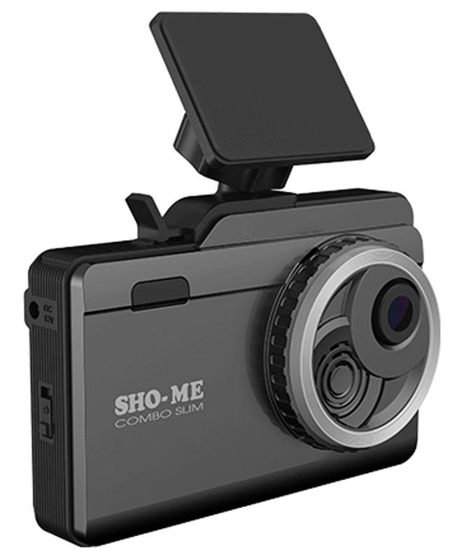 Sho-Me Combo Slim видеорегистратор с радар-детекторомCOMBO SLIMВидеорегистратор с радар-детектором Sho-Me Combo Slim - уникальная комбинация самых важных для автомобилиста функций – запись происходящего на видео в высоком качестве (Super HD) и оповещение о сигналах полицейских радаров, принятых антенной и/или определяемых с помощью GPS/ГЛОНАСС. Определение радарных сигналов во всех актуальных диапазонах – Х, К, Ка и сигналов лазерных измерителей (включая ЛИСД и Амата), а также сигналов комплекса Стрелка (более 1 км), Робот, Места и прочих Определение силы сигнала (1-5), в том числе сила сигнала Стрелки Режимы Город/Трасса для уменьшения ложных срабатываний Различные скоростные фильтры для максимально комфортной эксплуатации устройства Автоматическое приглушение громкости Регулировка яркости дисплея Возможность отключения диапазонов пользователем Сохранение настроек Голосовое оповещение Обновление базы данных камер и радаров, а также программного обеспечения с помощью карты памяти