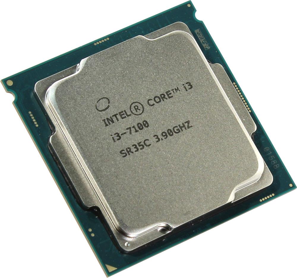 Intel Core i3-7100 процессор410649Core i3-7100 - процессор для настольных персональных компьютеров, основанных на платформе Intel. В основе лежит архитектура Kaby Lake, что позволяет оптимизировать работу двух ядер и четырех потоков, функционирующих на частоте 3,9 ГГц. Дополнительное быстродействие обеспечивается кэш-памятью третьего уровня объемом 3072 КБ. Обработка изображения перед демонстрацией его на мониторе ПК осуществляется графическим процессором Intel HD Graphics 630. Для двусторонней передачи данных между Intel Core i3-7100 и оперативной памятью компьютера предусмотрен встроенный контроллер, поддерживающий модули размером до 64 ГБ. Также в данной модели установлены контроллер PCI-E 3.0 и системная шина DMI 3.0, которые используются для связи с другими элементами ПК.