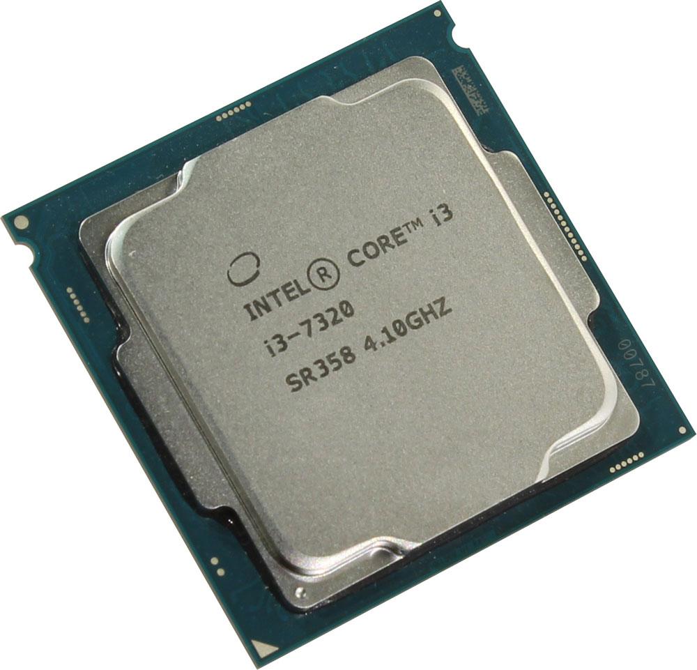 Intel Core i3-7320 процессор410653Core i3-7320 - процессор для настольных персональных компьютеров, основанных на платформе Intel. В основе лежит архитектура Kaby Lake, что позволяет оптимизировать работу двух ядер и четырех потоков, функционирующих на частоте 4,1 ГГц. Дополнительное быстродействие обеспечивается кэш-памятью третьего уровня объемом 4 МБ. Обработка изображения перед демонстрацией его на мониторе ПК осуществляется графическим процессором Intel HD Graphics 630. Для двусторонней передачи данных между Intel Core i3-7320 и оперативной памятью компьютера предусмотрен встроенный контроллер, поддерживающий модули размером до 64 ГБ. Также в данной модели установлены контроллер PCI-E 3.0 и системная шина DMI 3.0, которые используются для связи с другими элементами ПК.