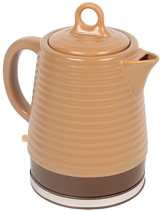 Vitek VT-1135(BN) электрочайникVT-1135(BN)Электрический чайник Vitek VT-1135 (BN) примечателен тем, что, благодаря своему домашнему дизайну, вписывается практически в любой интерьер, создавая вокруг себя атмосферу тепла и уюта. При этом, по своим техническим характеристикам, он является серьезным конкурентом моделей из других материалов. Главное же достоинство высоко ценится любителями долгих вечерних посиделок за чашечкой чая - при снятии подобного чуда техники с подставки его корпус выглядит, как обычный керамический чайник, вполне уместно смотрящийся на столе для чаепития. Если сравнивать материалы, из которых изготавливаются корпусы чайников, то керамика не придает посторонних привкусов воде (в отличие от многих пластмассовых корпусов) и не нагревается до опасной для кожи температуры (по сравнению со стеклом или металлом). Отличительными характеристиками данной модели также являются: объем 1,2 л., корпус из волнистой керамики коричневого цвета, английский контроллер STRIX.