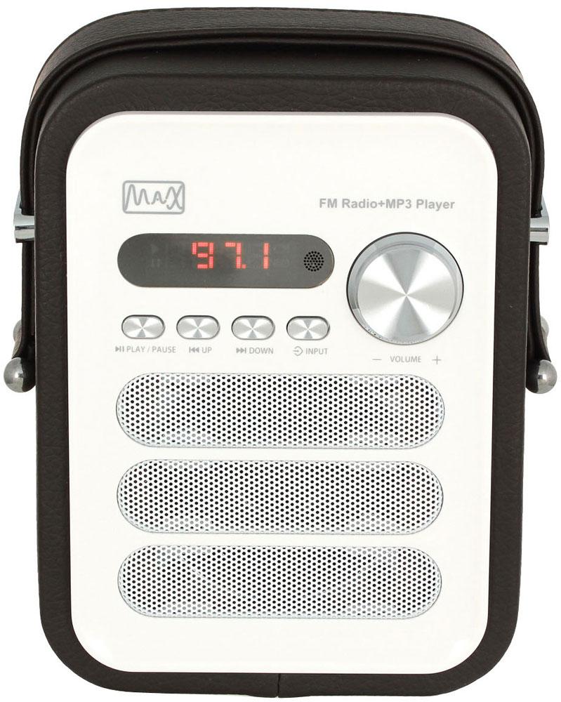 MAX MR-330, Black White портативный радиоприемник с MP34630011250642Радиоприёмник MAX MR-330 поддерживает трансляцию FM-радиостанций и умеет воспроизводить MP3-файлы. Акустика приёмника MR-330 воспроизводит широкий диапазон звучания: от 100 Гц до 18 кГц, оптимизированный с помощью усилителя на 5 Вт. За высокие и средние частоты отвечает монодинамик, низкие ноты усиливает 2-дюймовый сабвуфер. Благодаря этому радиоприёмник MAX MR-330 звучит не только громко, но и чисто. Панель управления расположена в лицевой части приёмника. Кроме неё, управлять работой устройства можно с дистанционного пульта, поддерживающего все функции аппарата - от настройки канала радиовещания до воспроизведения аудиофайлов. Приёмник умеет воспроизводить аудиофайлы формата MP3 и WMA. Внутренний плеер MR-330 считывает файлы с карт памяти и флешек объёмом до 32 ГБ.