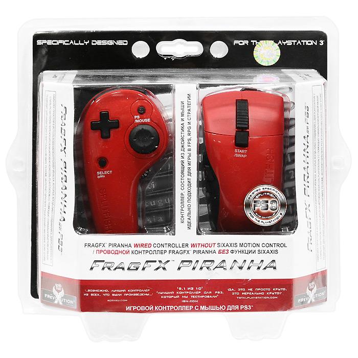 Проводной игровой контроллер с мышью Frag FX Piranha для PS3 (красный)