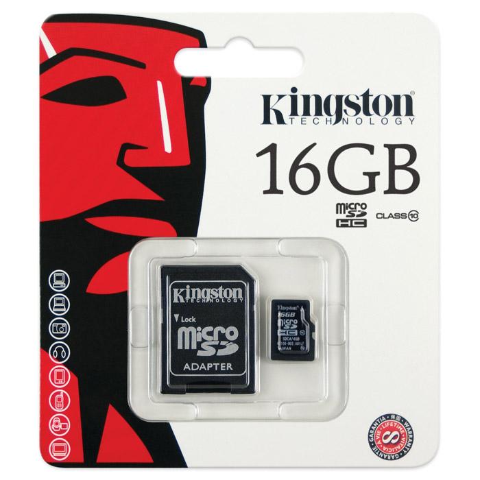Kingston microSDHC Class 10, 16GB карта памяти + адаптер