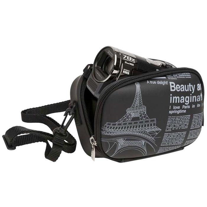 Riva 7081 (PU) Digital Case, Black (Newspaper) чехол для фотокамеры