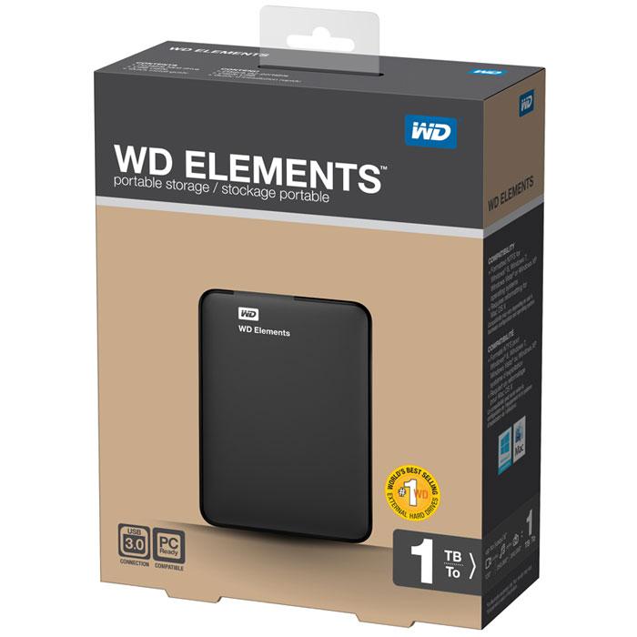 WD Elements Portable 1TB, USB 3.0 внешний жесткий диск (WDBUZG0010BBK-EESN)