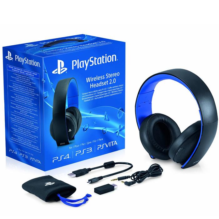 Sony PlayStation Беспроводная стереогарнитура 2.0 для PS4 / PS3 / PS Vita, Black