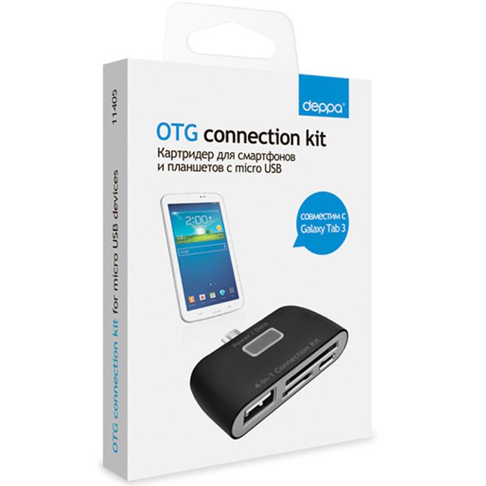 Deppa OTG Connection Kit, Black картридер для смартфонов и планшетов с microUSB