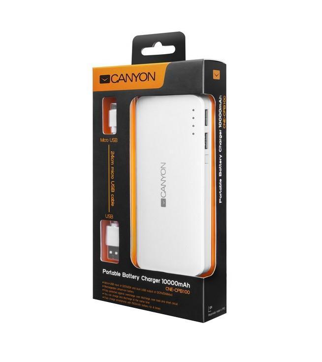 Canyon CNE-CPB100W, White внешний аккумулятор (10000 мАч)