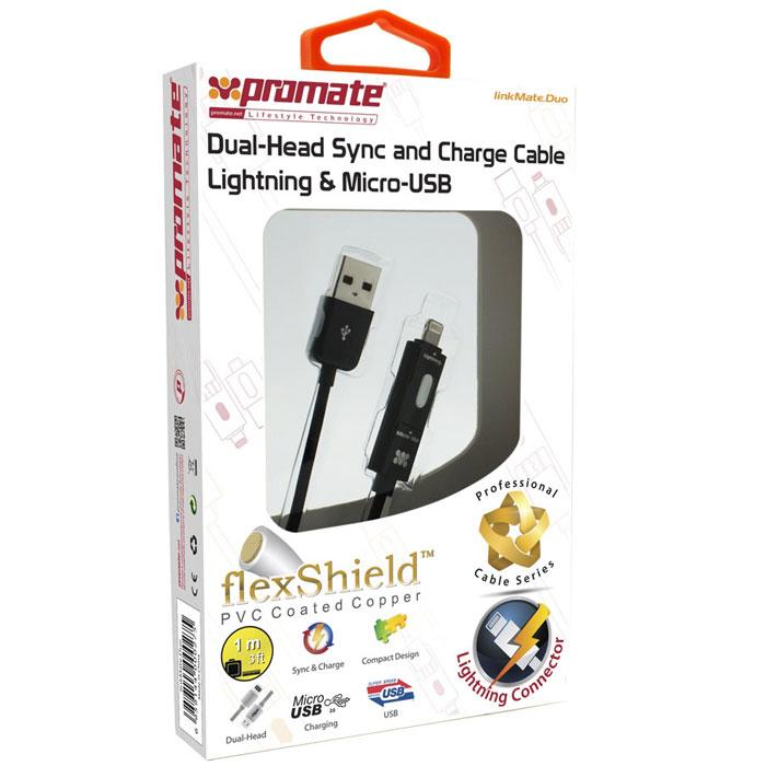 Promate linkMate.Duo, Black кабель USB с разъемами Apple Lightning и MicroUSB