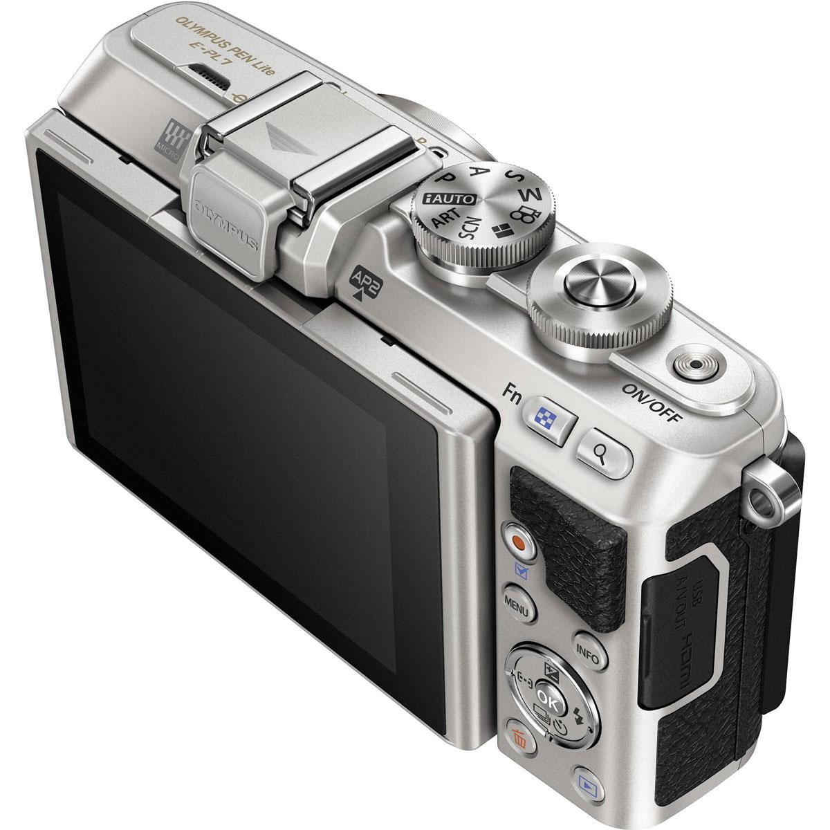 Olympus E-PL7 Kit EZ-M1442 II R, Silver цифровая фотокамера