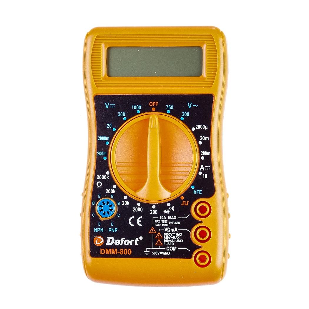 Мультитестер цифровой Defort DMM-80098295719Мультитестер цифровой Defort DMM-800 предназначен для измерения напряжения постоянного тока (V DC), силы постоянного тока (A DC), напряжения переменного тока (V AC), сопротивления (Ом), для проверки диодов, а также непрерывности электрических цепей (прозвонки). Напряжение постоянного тока: 0-1000 В. Напряжение переменного тока: 0-750 В. Постоянный ток: 0-10 А. Сопротивление: 0-2 МОм. Масса: 0,196 кг.