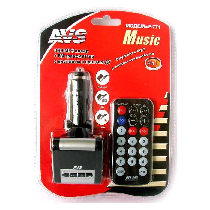 AVS F-771, Black MP3-плеер + FM-трансмиттер с дисплеем и пультом ( 43047 )