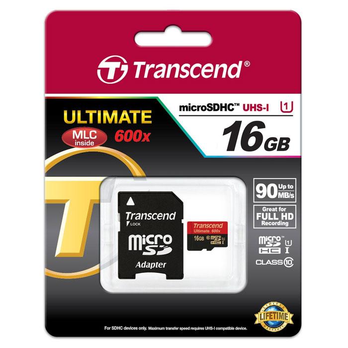 Transcend Ultimate microSDHC Class 10 UHS-I 600x 16GB карта памяти