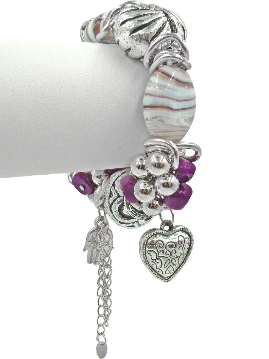 Браслет Taya, цвет: серебристый, белый, сиреневый, пурпурный. T-B-10335