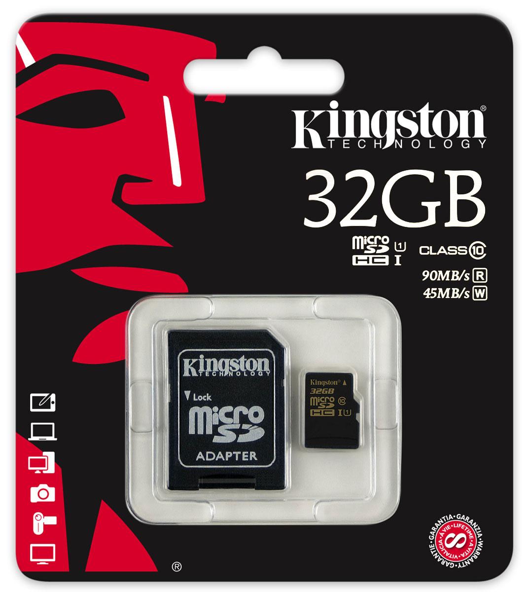 Kingston microSDHC Class 10 UHS-I 32GB карта памяти с адаптером