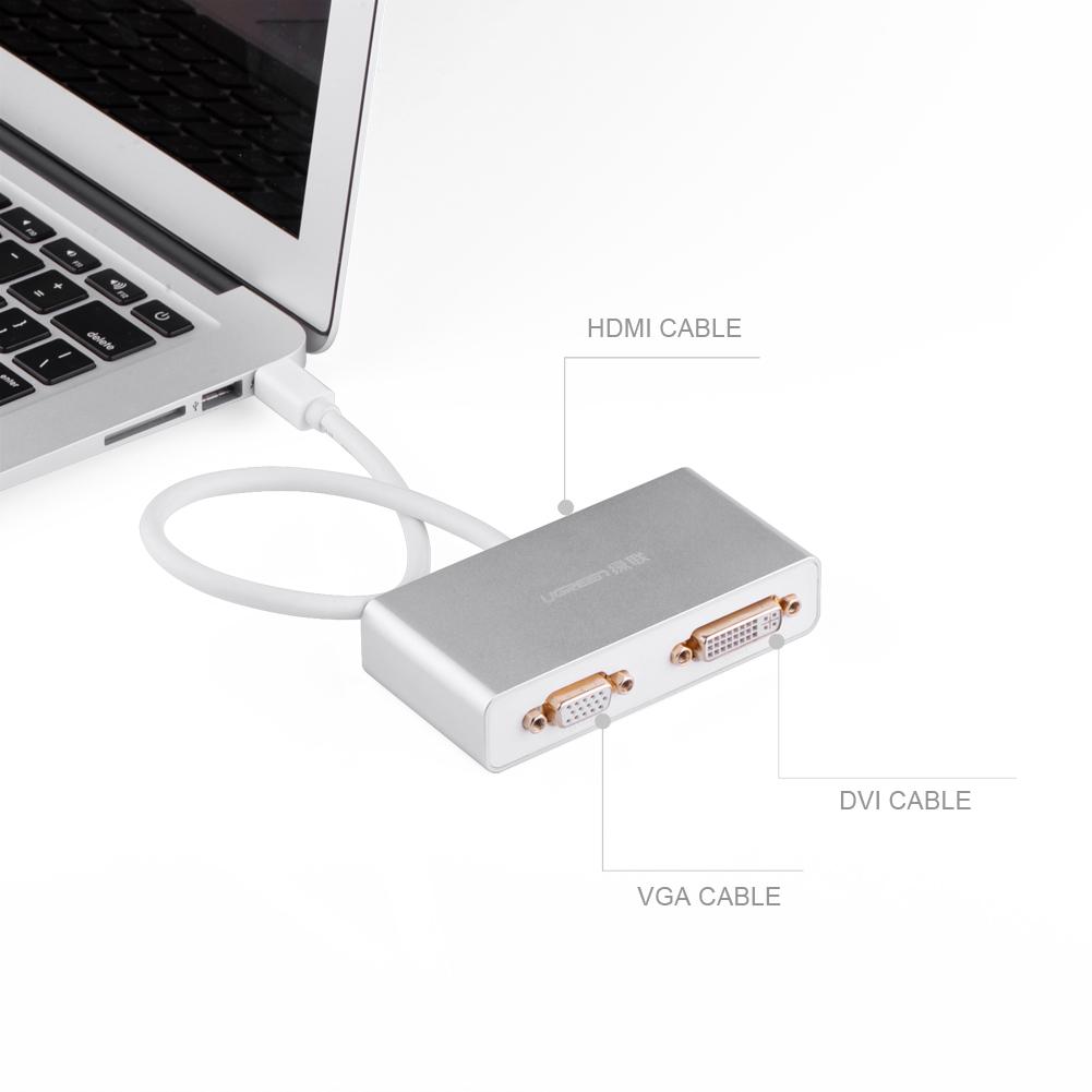 Ugreen UG-10438, White конвертер-переходник DisplayPortUG-10438Наименование: Мультимедиа professional конвертер 3-в-1 mini DisplayPort на HDMI/VGA/DVI может легко подключить ваш MacBook, MacBook Pro или MacBook Air с разъемом mini DisplayPort к проектору или HDTV чтобы насладиться качеством просмота на большом экране. Вы можете подключить свой компьютер к большинству проекторов. Идеально подходит для цифровых развлекательных центров, домашних офисов, бизнес-конференц-залов и выставочных дисплеев. Содержит 2 чипсета, поддерживающих как цифровой, так и аналоговый сигналы, но 3 выхода не могут быть использованы одновременно. Примечание: Вы можете только подключить до трех устройств между выходными портами одновременно. Обратите внимание, что разъемы VGA и DVI не поддерживают передачу звука, вывод звука возможен только по HDMI. 1.mini DisplayPort 1.1 стандартный,совместимый с Thunderbolt. 2.Поддержка 12 бит на канал (24 бита весь канал) 3.HDMI выход поддержка сжатых аудио, такие как DTS,Digital, Dolby Digital include-DTS-HD and Dolby True HD....
