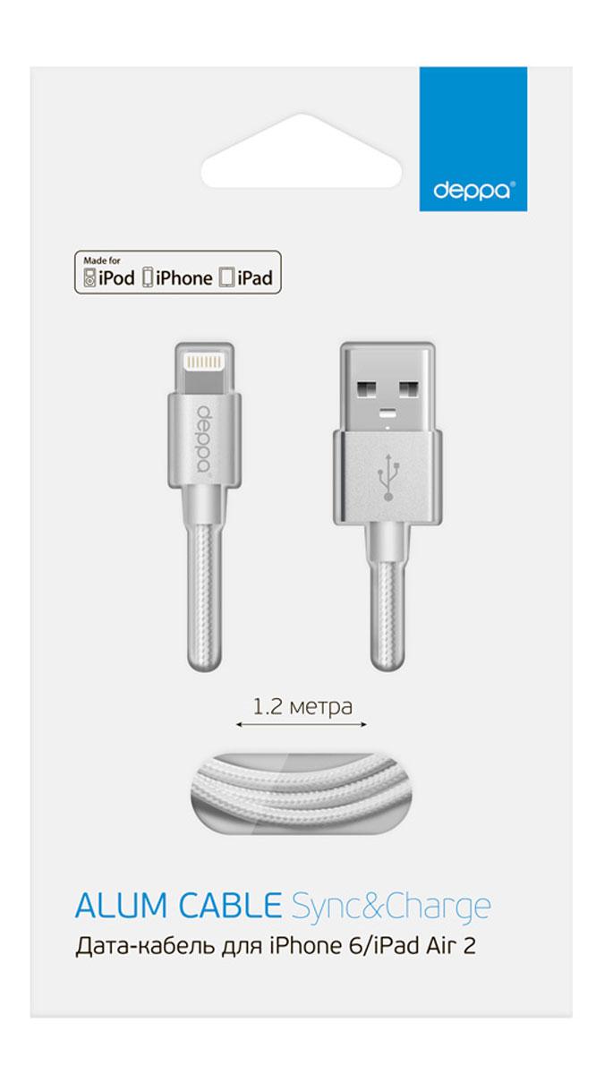 Deppa Alum MFI, Silver дата-кабель USB-8-pin (1,2 м)