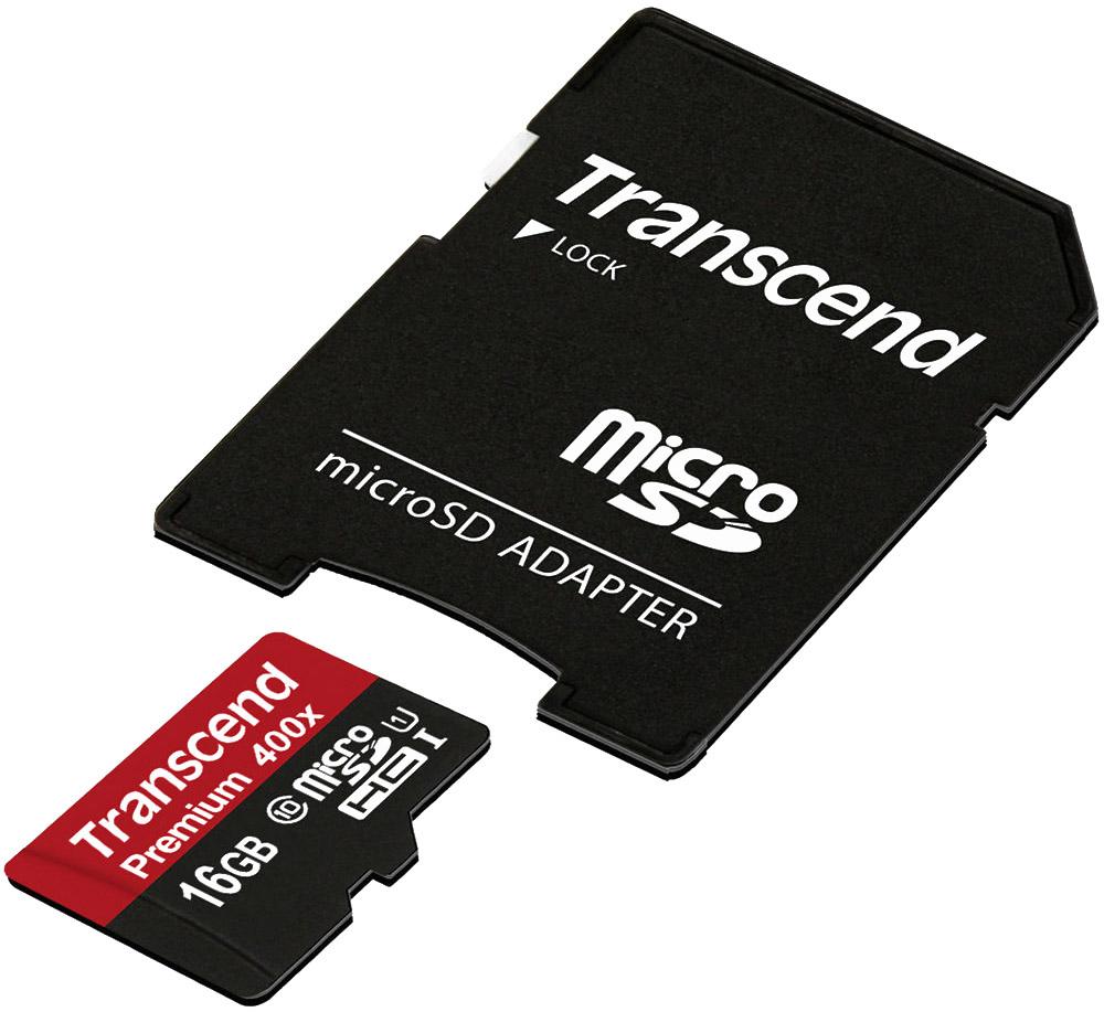 Transcend Premium microSDHC Class 10 UHS-I 400x 16GB карта памяти с адаптером