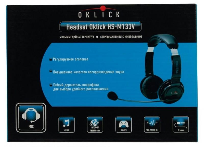 Наушники с микрофоном Oklick HS-M133V, Black