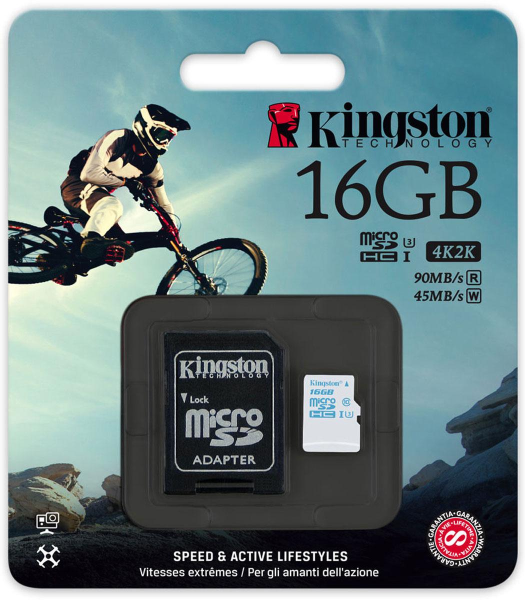 Kingston microSDHC Action Camera Class 10 U3 UHS-I 16GB карта памяти с адаптером