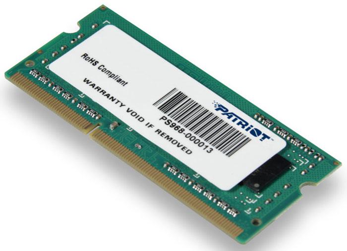 Patriot DDR3 SO-DIMM 8GB 1600МГц модуль оперативной памяти (PSD38G16002S)