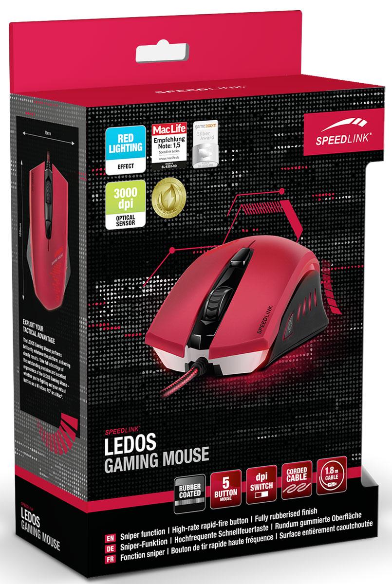 Speedlink Ledos, Red мышь игровая
