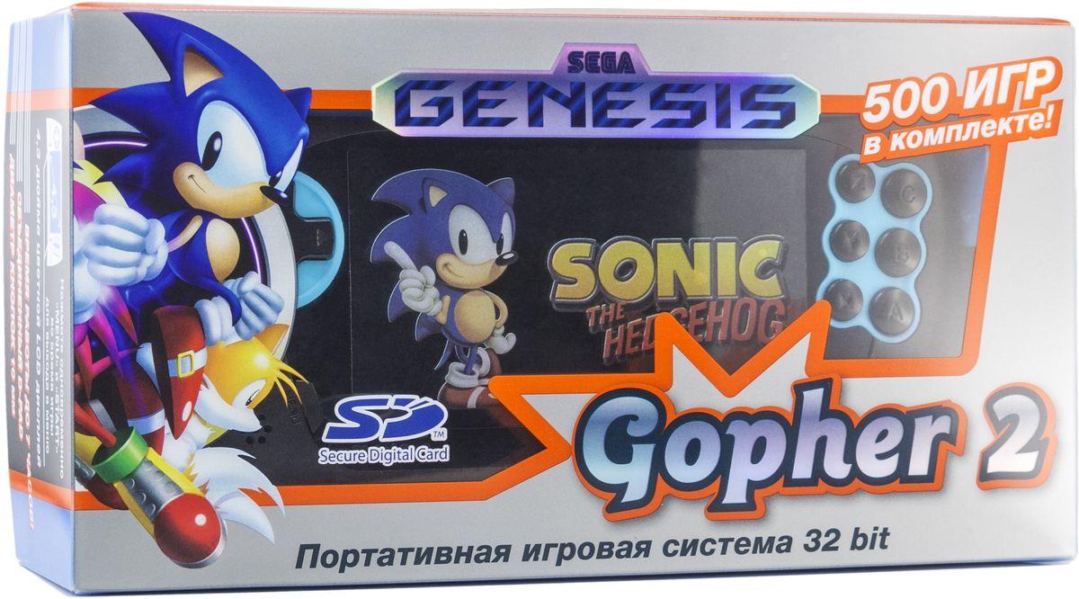 Sega Genesis Gopher 2, Blue портативная игровая консоль + 500 игр