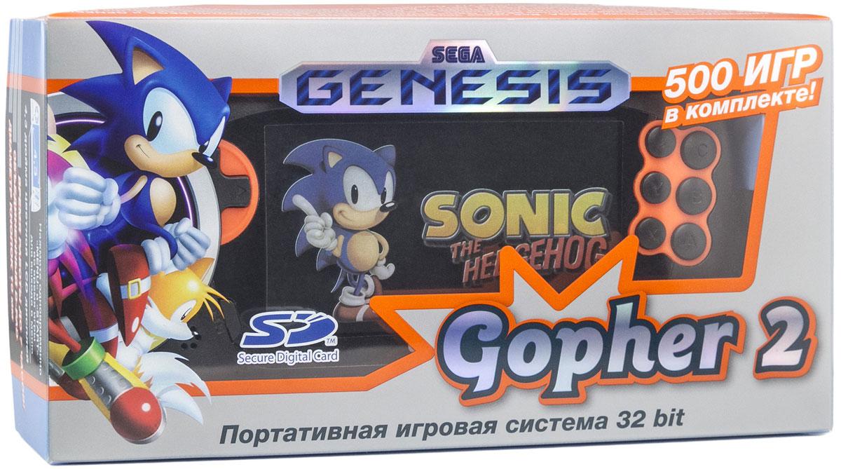 Sega Genesis Gopher 2, Orange портативная игровая консоль + 500 игрConSkDn50Sega Genesis Gopher 2 - это тонкое, простое и быстрое игровое устройство, которое позволяет играть в игры для классической игровой приставки Sega Genesis и для приставок компании Nintendo. Отличается легким тонким и прочным корпусом, отсутствием острых углов, поддержкой большого количества форматов игр и наличием слота для microSD карты, через который можно запускать игры из пользовательской коллекции для ретро-приставок. Портативная игровая приставка SEGA Genesis Gopher 2 представляет собой эволюцию первой модели. В ней добавлены и улучшены ключевые характеристики устройства – размер экрана, воспроизведение игр, добавлены надежные кнопки-шифты – при этом неизменными остались основные элементы приставки, которые полюбились игрокам – яркий экран, быстрый запуск игр и плавное их воспроизведение, быстрое и интуитивно понятное меню, физические кнопки включения консоли и регулировки звука, полноценные 6 кнопок управления, единый D-Pad для навигации в меню и управления персонажем. ...