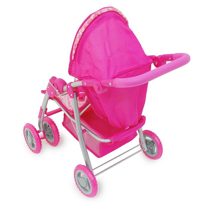 1TOY Транспорт для кукол Прогулочная коляска Премиум цвет розовый
