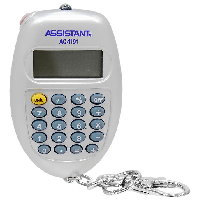 """Калькулятор """"Assistant AC-1191"""", 8-разрядный, цвет: серебристый ( AC-1191SL )"""