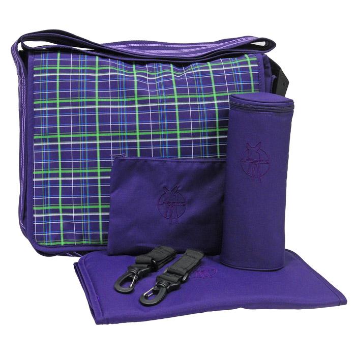 """Сумка-мессенжер Lassig """"Клетка"""", цвет: фиолетовый"""