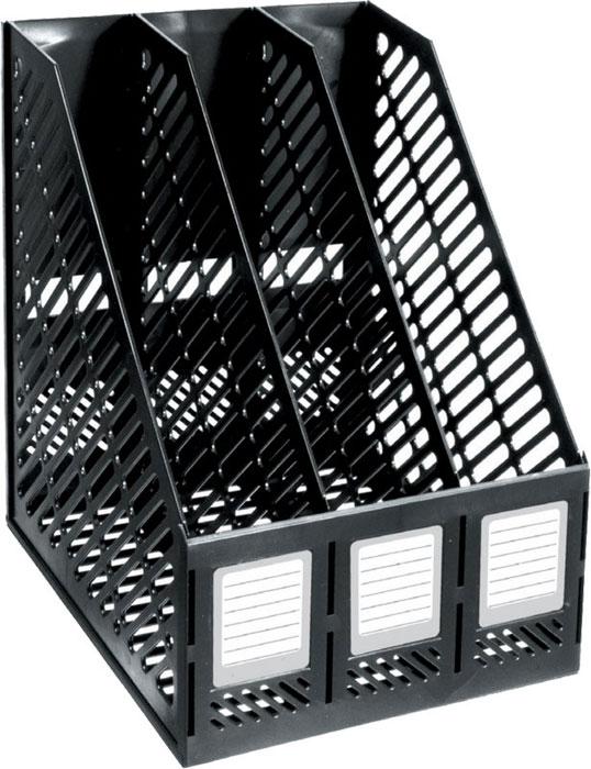 """Подставка для бумаг """"Премьер-Пласт"""", трехсекционная, цвет: черный"""