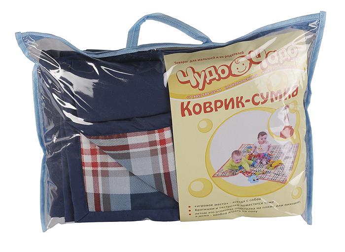 """Переносной коврик-сумка """"Чудо-Чадо"""", цвет: темно-синий, клетка"""