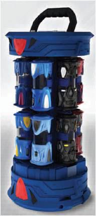 """Футляр-цилиндр """"Monsuno"""", для хранения капсул и карт, цвет: синий, красный"""
