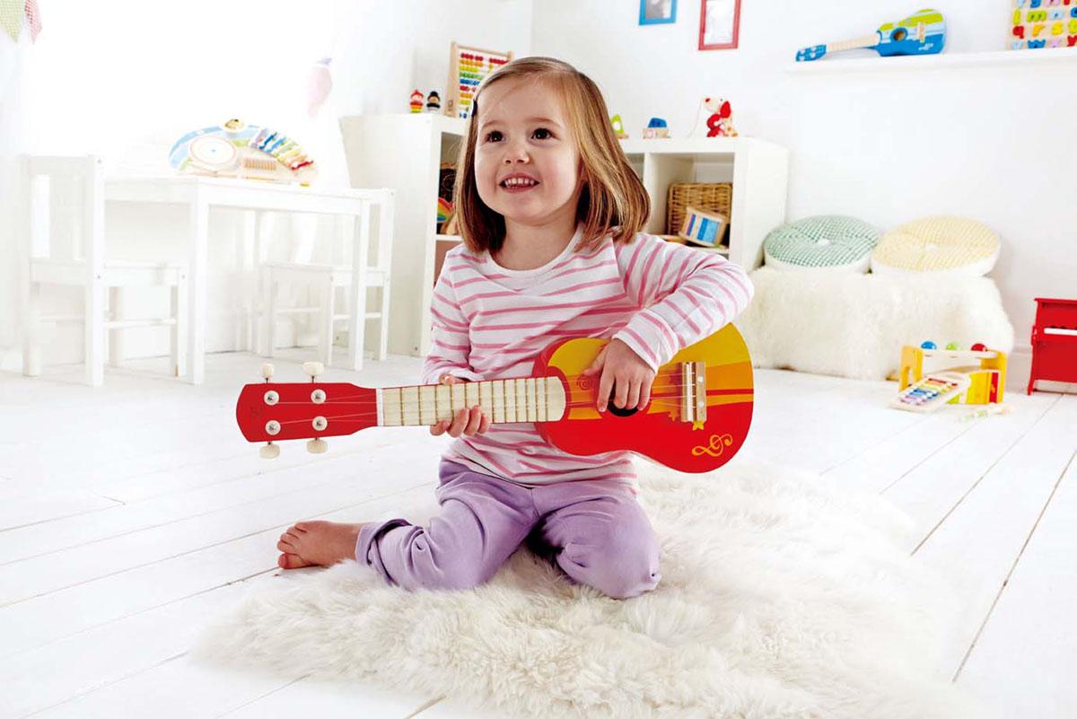 """Hape Игрушка деревянная """"Гитара"""", цвет: красный, желтый. Е0316"""