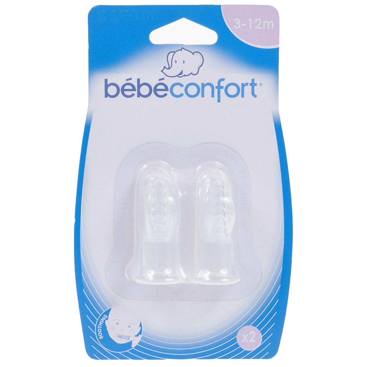 Детская зубная щетка-напальчник Bebe Confort, силиконовая, 2 шт