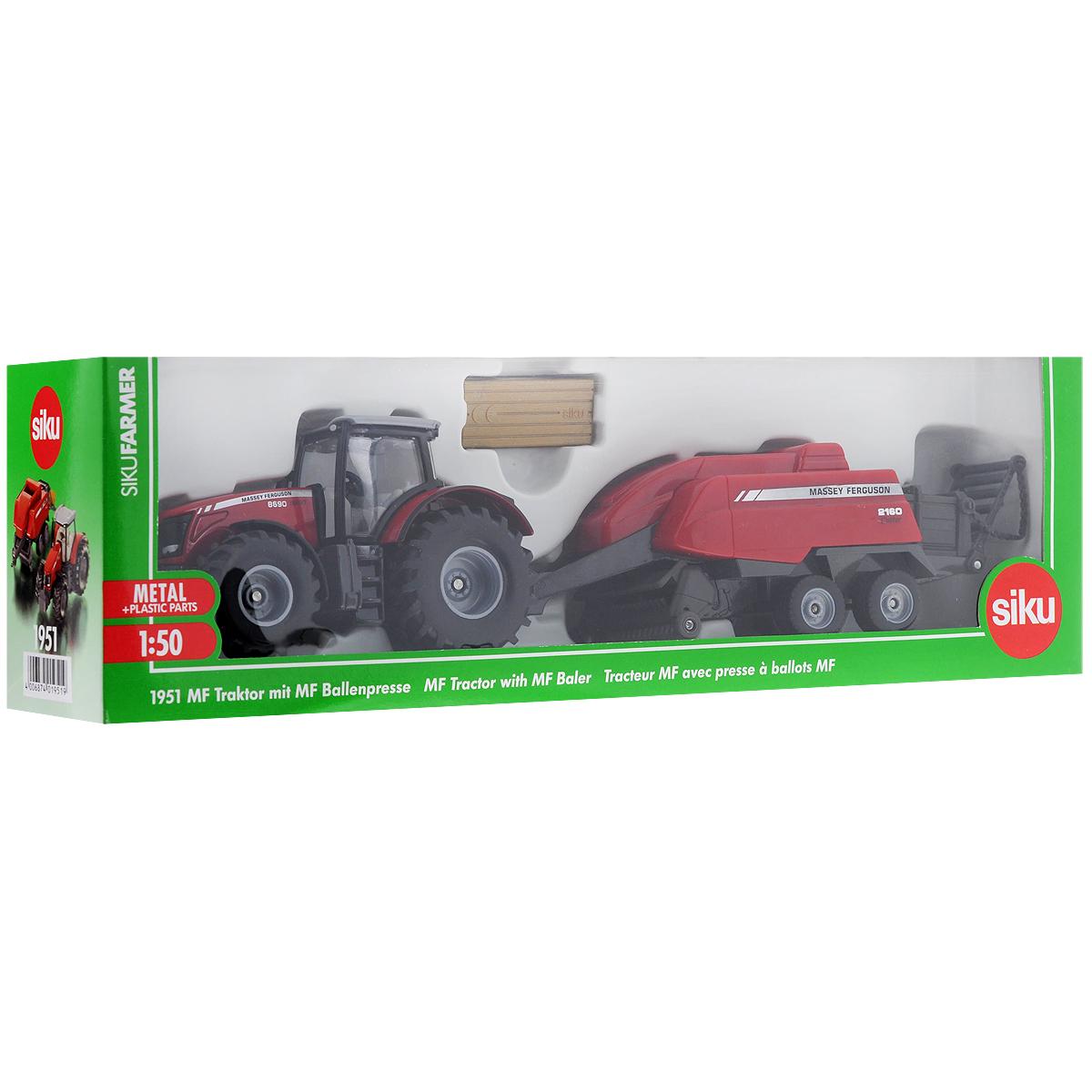 Siku Трактор Massey-Ferguson с кипоукладчиком